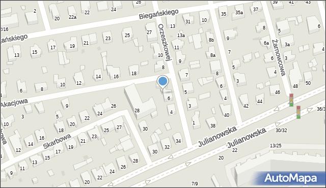Łódź, Orzeszkowej Elizy, 6a, mapa Łodzi