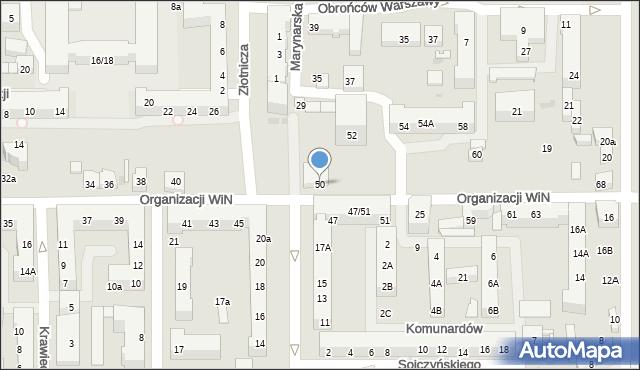 Łódź, Organizacji Wolność i Niezawisłość, 50, mapa Łodzi