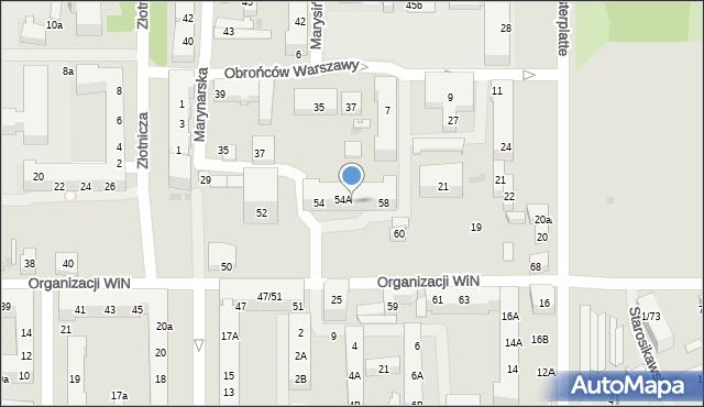 Łódź, Organizacji Wolność i Niezawisłość, 56, mapa Łodzi