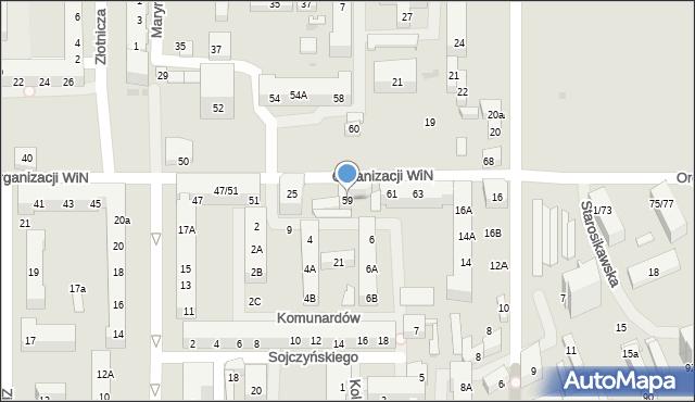 Łódź, Organizacji Wolność i Niezawisłość, 59, mapa Łodzi