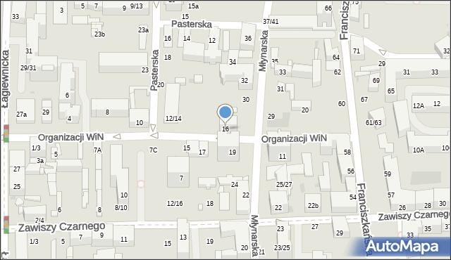 Łódź, Organizacji Wolność i Niezawisłość, 16, mapa Łodzi