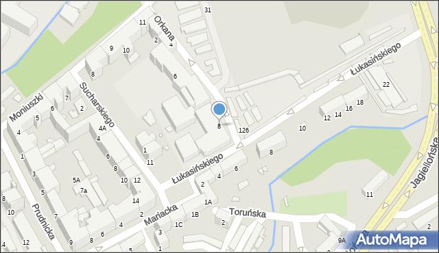 Nysa, Orkana Władysława, 8, mapa Nysy