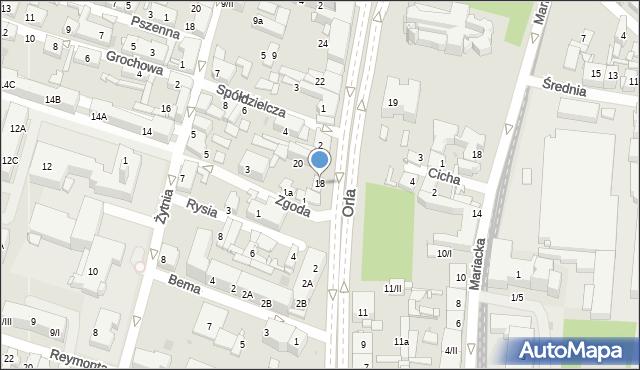 Sosnowiec, Orla, 18, mapa Sosnowca