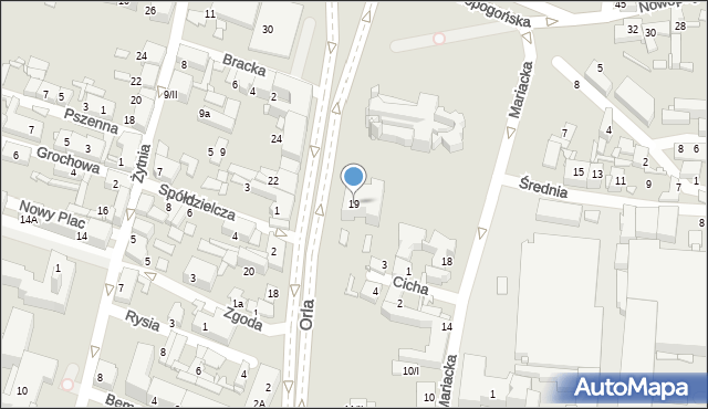 Sosnowiec, Orla, 19, mapa Sosnowca