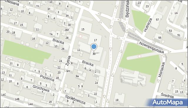 Sosnowiec, Orla, 30, mapa Sosnowca