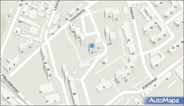 Sosnowiec, Ordonówny Hanki, 9, mapa Sosnowca