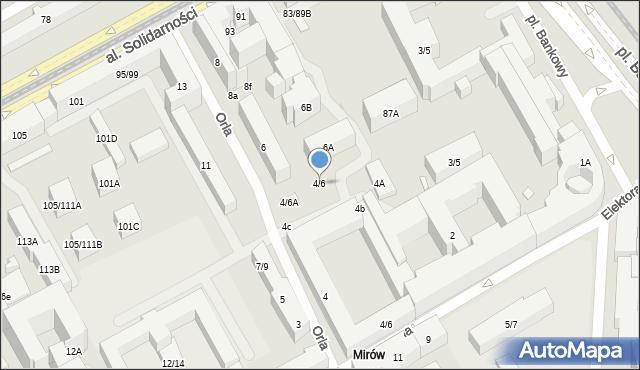 Warszawa, Orla, 4/6, mapa Warszawy