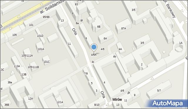 Warszawa, Orla, 4/6A, mapa Warszawy
