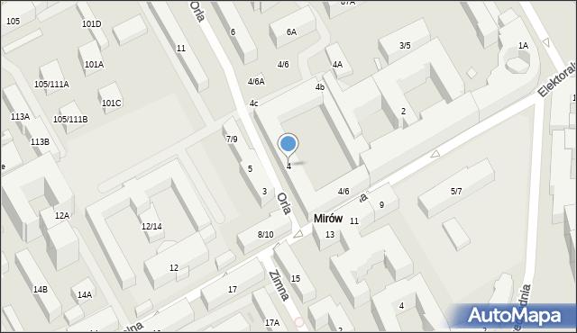 Warszawa, Orla, 4, mapa Warszawy