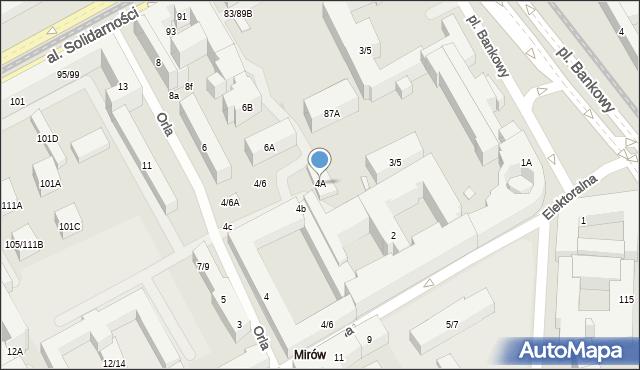 Warszawa, Orla, 4A, mapa Warszawy