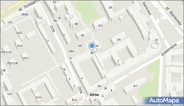 Warszawa, Orla, 4b, mapa Warszawy