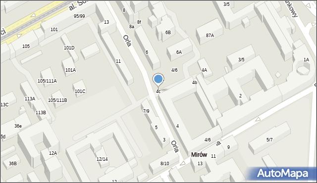Warszawa, Orla, 4c, mapa Warszawy