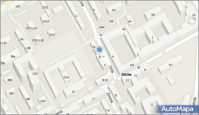 Warszawa, Orla, 5, mapa Warszawy