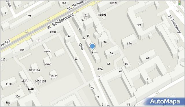 Warszawa, Orla, 6, mapa Warszawy