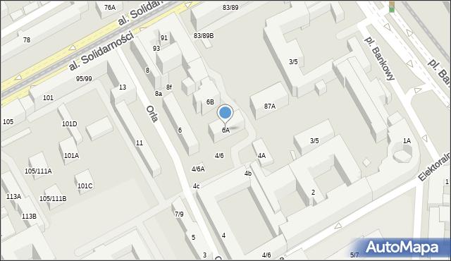 Warszawa, Orla, 6A, mapa Warszawy
