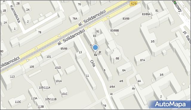 Warszawa, Orla, 8a, mapa Warszawy