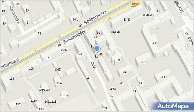 Warszawa, Orla, 8b, mapa Warszawy