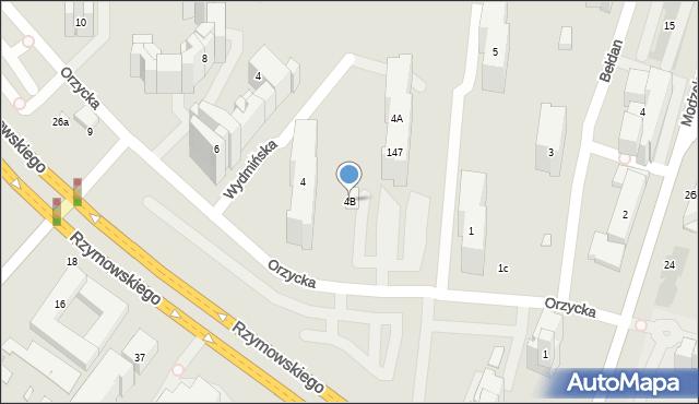 Warszawa, Orzycka, 4B, mapa Warszawy
