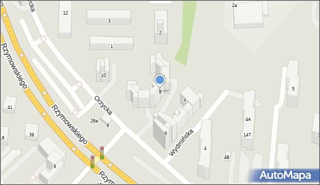Warszawa, Orzycka, 8, mapa Warszawy