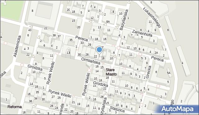Zamość, Ormiańska, 20, mapa Zamościa