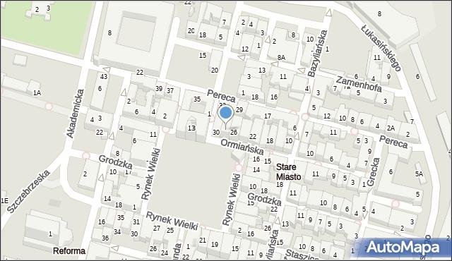 Zamość, Ormiańska, 28, mapa Zamościa