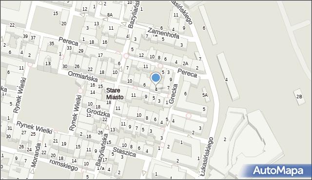 Zamość, Ormiańska, 4, mapa Zamościa