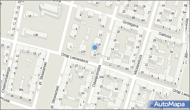 Bytom, Oświęcimska, 11, mapa Bytomia