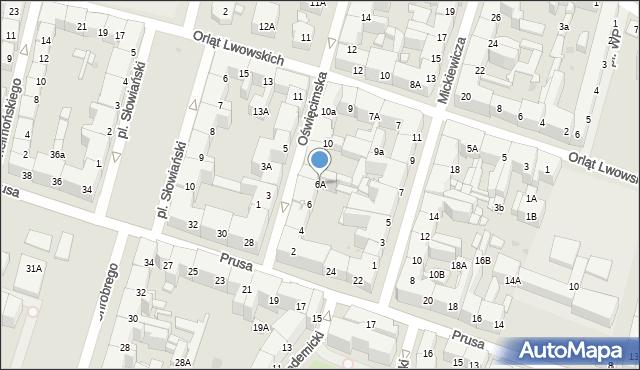 Bytom, Oświęcimska, 6A, mapa Bytomia