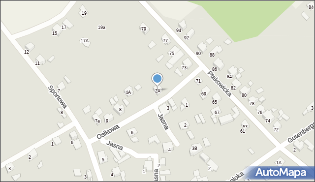 Bytom, Osikowa, 2A, mapa Bytomia