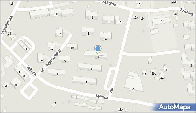 Dobczyce, Osiedle Jagiellońskie, 5, mapa Dobczyce