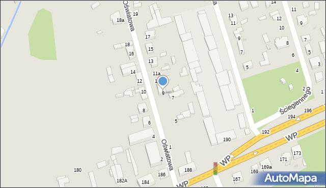 Łódź, Oświatowa, 9, mapa Łodzi