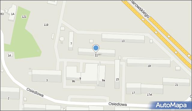 Radom, Osiedlowa, 11, mapa Radomia
