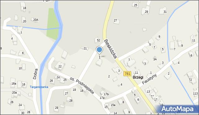 Targanice, Osiedle Podmiejskie, 1, mapa Targanice