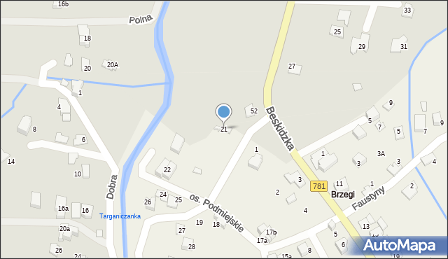 Targanice, Osiedle Podmiejskie, 21, mapa Targanice