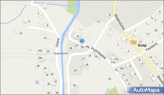 Targanice, Osiedle Podmiejskie, 25, mapa Targanice