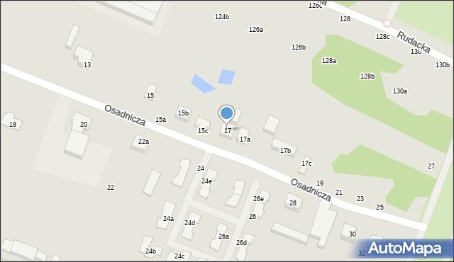 Toruń, Osadnicza, 17, mapa Torunia