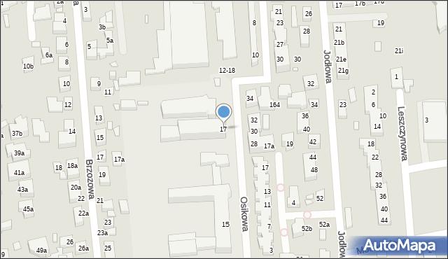 Toruń, Osikowa, 17, mapa Torunia