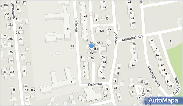 Toruń, Osikowa, 8a, mapa Torunia