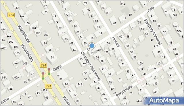 Warszawa, Ostra, 13, mapa Warszawy