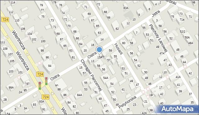 Warszawa, Ostra, 13A, mapa Warszawy