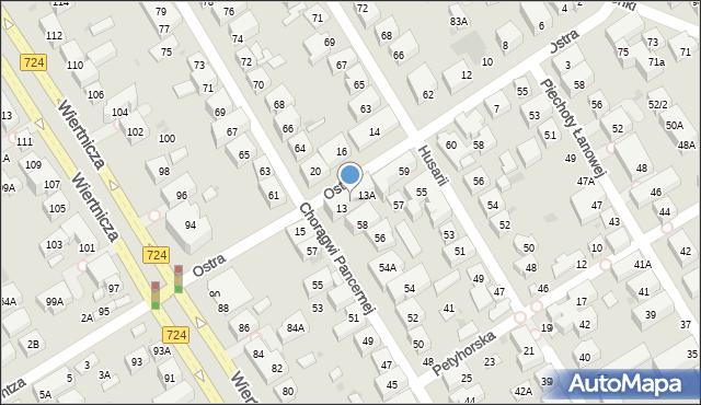 Warszawa, Ostra, 13B, mapa Warszawy