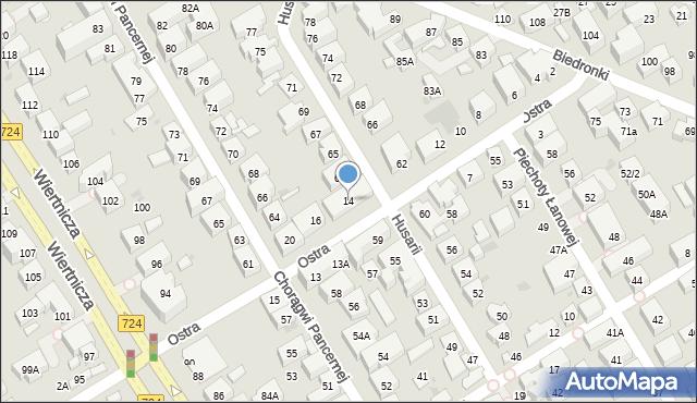 Warszawa, Ostra, 14, mapa Warszawy