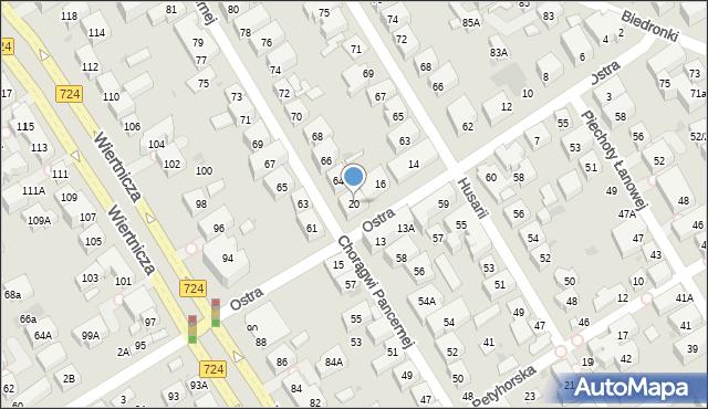 Warszawa, Ostra, 20, mapa Warszawy