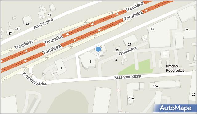 Warszawa, Osiedlowa, 11, mapa Warszawy