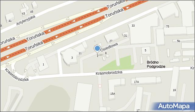 Warszawa, Osiedlowa, 2, mapa Warszawy