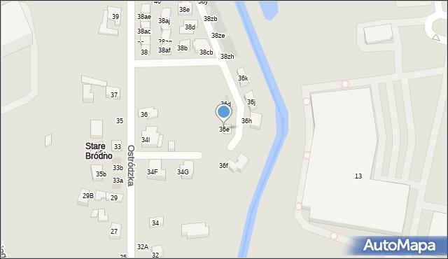 Warszawa, Ostródzka, 36e, mapa Warszawy