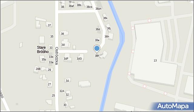 Warszawa, Ostródzka, 36f, mapa Warszawy
