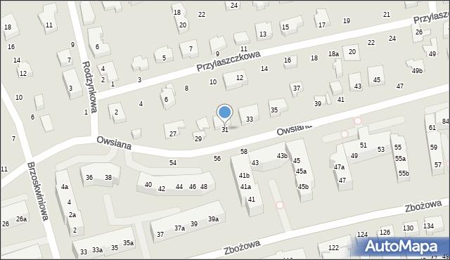 Toruń, Owsiana, 31, mapa Torunia