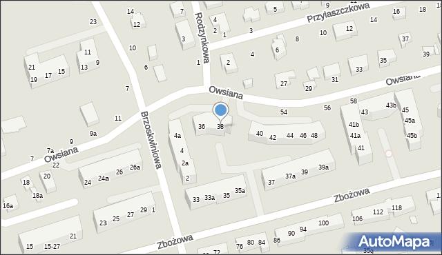 Toruń, Owsiana, 38, mapa Torunia