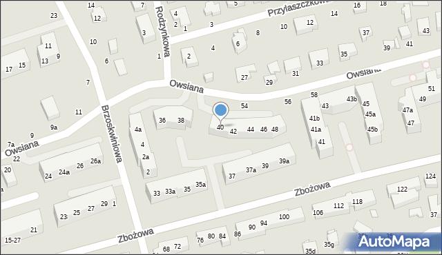 Toruń, Owsiana, 40, mapa Torunia